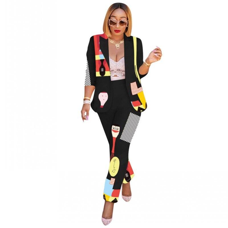Autumn Winter Tracksuit Long Sleeve Cartoon Print Blazers Pants Suit Two Piece Set Office Lady Outfit Uniform Women's Sets