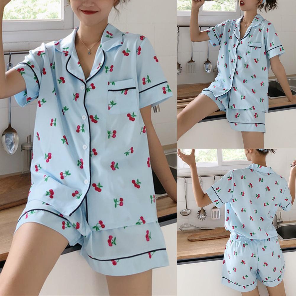 2Pcs Summer Short Pajama Sets Women Sleepwear Turn Down Collar Ladies Short Sleeve Top Hot Shorts Pajama Sets Women Homewear