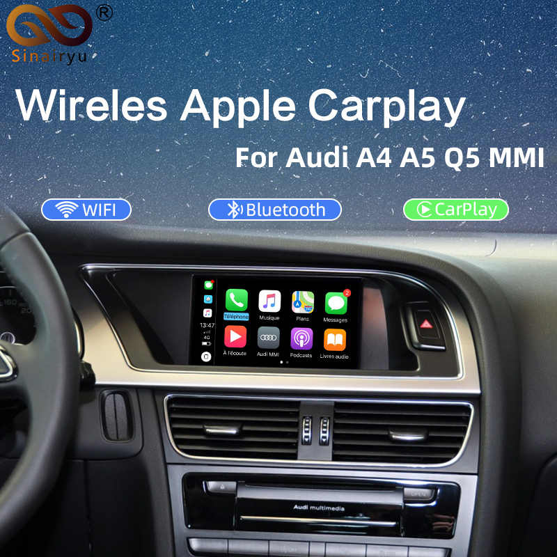 Nirkabel Apple Carplay Android Auto Antarmuka Kotak untuk Audi A4 A5 3G MMI Sistem Multimedia Asli Layar Update