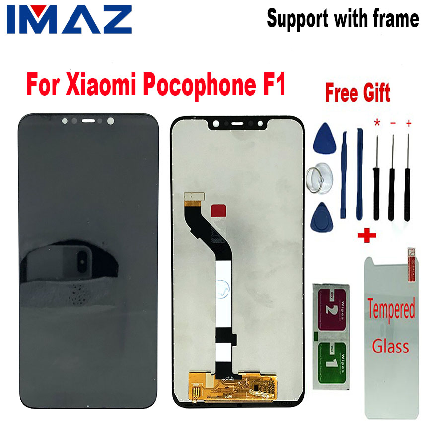 """IMAZ Original 6.18"""" LCD For Xiaomi Pocophone F1 LCD Display Touch Screen Digitizer Assembly For Xiaomi F1 LCD Tempered Film Tool"""