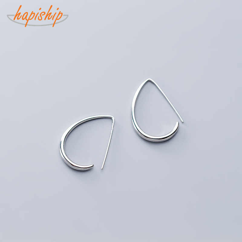 Trustdavis Women's Fashion 100% 925 Real Sterling Silver Fashion Elliptic Geometry Stud Earrings Girls Kids Gift DA298