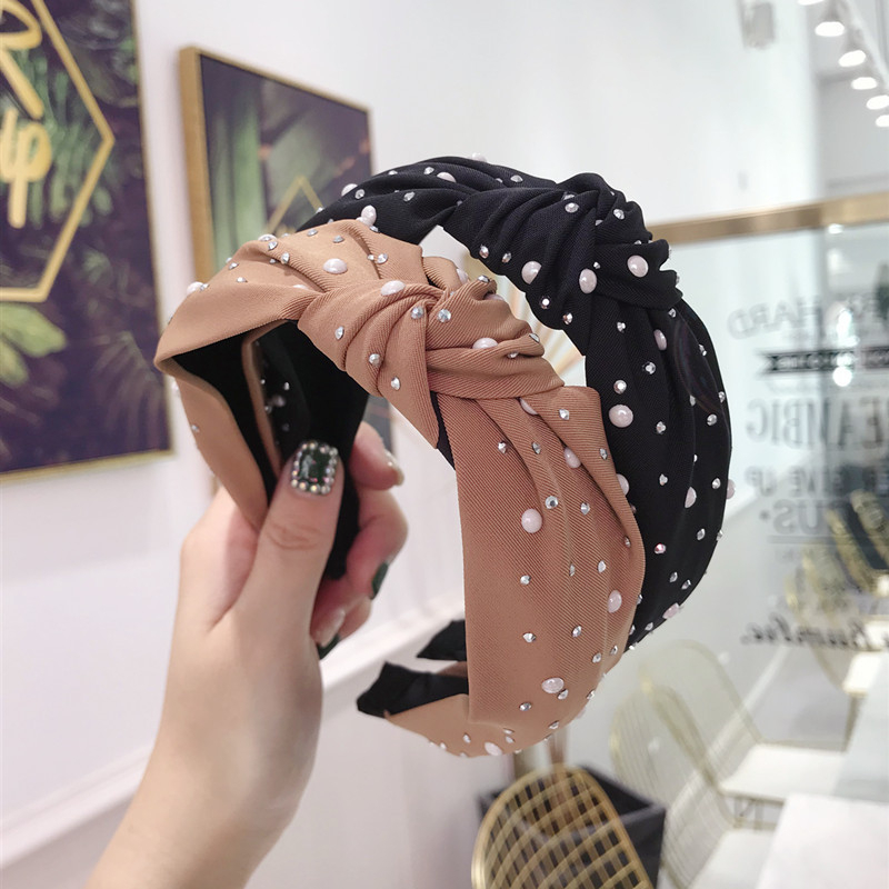 New 2020 Fashion Girls Headband Handmade Shining Shiny Pearls Rhinestone Ornament Womens Knot Turban Hair Accessories Hair Bands