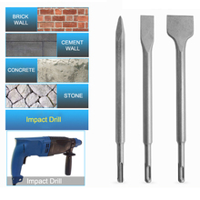 3PC Electric Hammer Chisel Round Handle Pointed Flat Chisel Round Handle Pits Slots Set Impact Drill Concrete Wall Excavation hammer drill electric redverg rd rh1500 power 1500 w drilling in concrete to 36mm антивибрационная system
