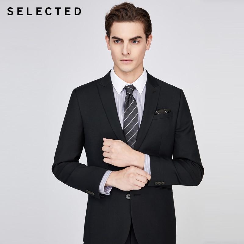 SELECTED Men's Slim Regular Fit Black Jacket Business Blazer SIG|42015X513