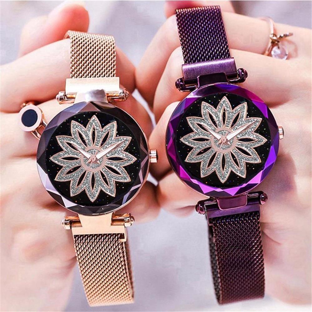 2019 Dropshipping Women Magnet Buckle Starry Sky Lucky Flower Watch Luxury Ladies Stainless Steel Quartz Watch Relogio Feminino