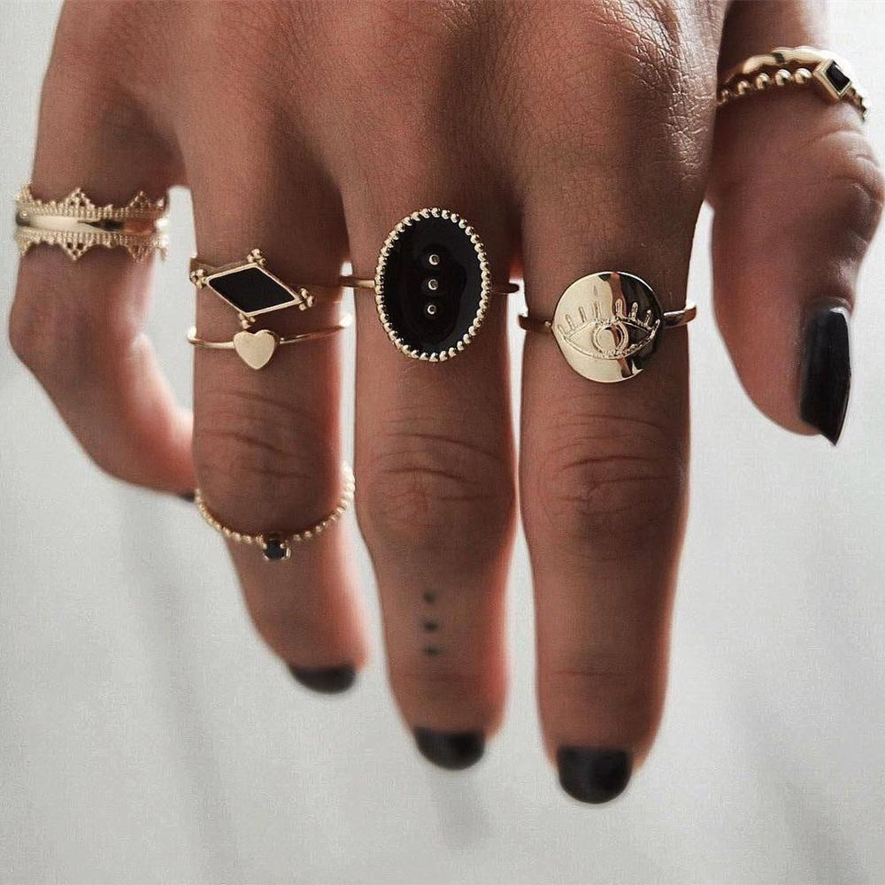 6PCS//Set Bohemian Eye Flower Rings Unique Geometric Alloy Knuckle Jewelry Set