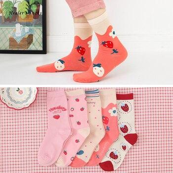 Hot Fashion Women Socks Cotton Pink Strawberry Kawaii Harajuku Japanese Funny Happy Soft Casual College Style Girls Tube Socks ibackpack 2017 hot style pink
