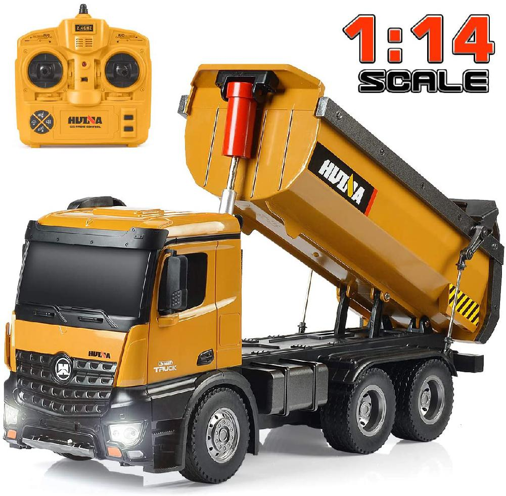 RCtown 1/14 Scale RC Excavator Full Functional Construction Vehicles Rechargeable RC <font><b>Truck</b></font> with Metal Shovel <font><b>Lights</b></font> Sounds #X07 image