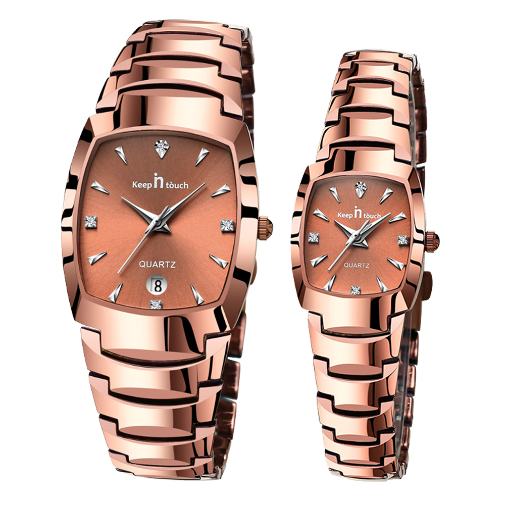 Simple Three-pin Fashion MEN And WOMEN Watch Creative Lovers Gift Couple Watchs Role Square Steel Strip NEW Clock Quartz Rose