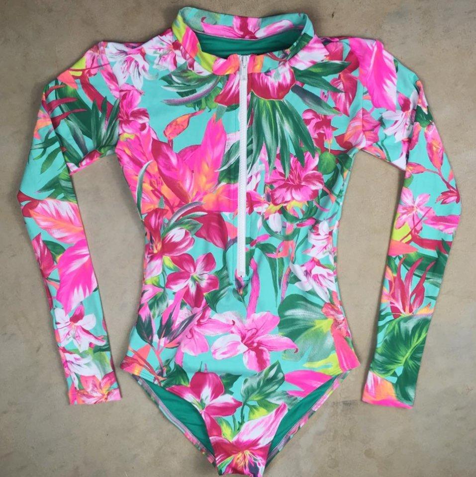 Женский слитный купальник с длинными рукавами, Цветочный купальник, монокини с тропическим принтом, открытая спина, фламинго, купальный костюм, боди Bain