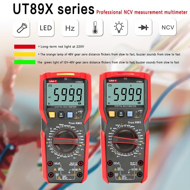 UNI-T UT89XD multimètre numérique véritable RMS testeur AC DC voltmètre ampèremètre 1000V 20A capacité fréquence résistance LED mesure - 2