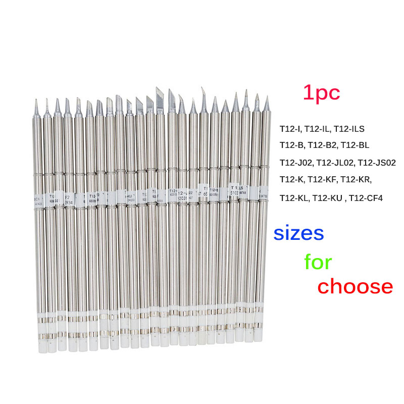 1pc T12 Series Solder Iron Tips For Hakko Soldering Rework Station FX-951 FX-952 T12-IL T12-JL02 T12-B2 T12-B T12-BCF3 T12-K