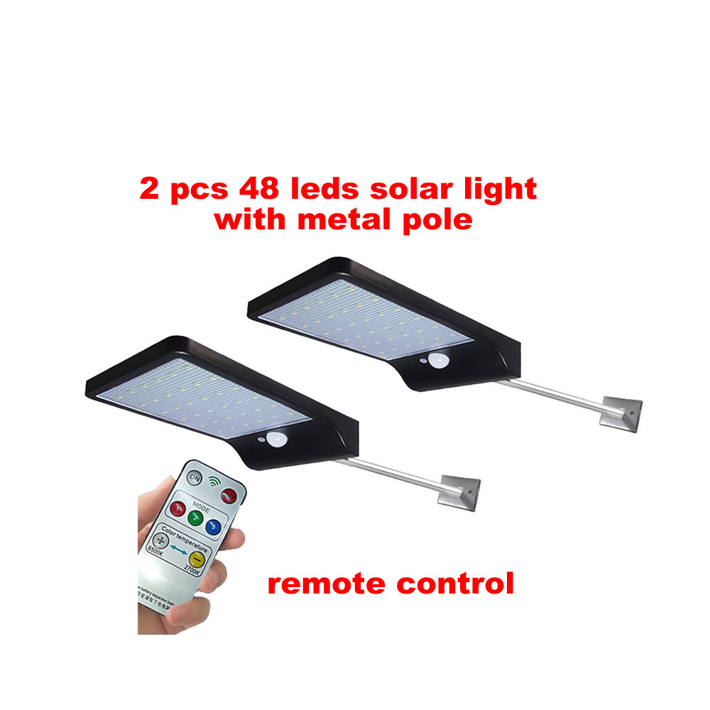 48 LED Solar Light Motion Street Yard Path Garden Solar Lamp Security Wall+lamps Waterproof Metal Pole Remote Controller Option