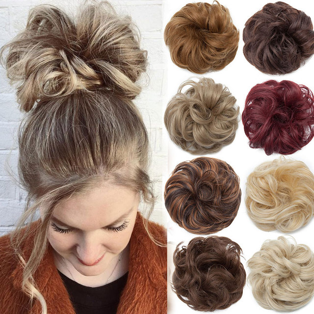 Snoilite women scrunchies hair elastic hair bun chignon hairpieces synthetic updo hair accessories Ponytail Extensions for women 1