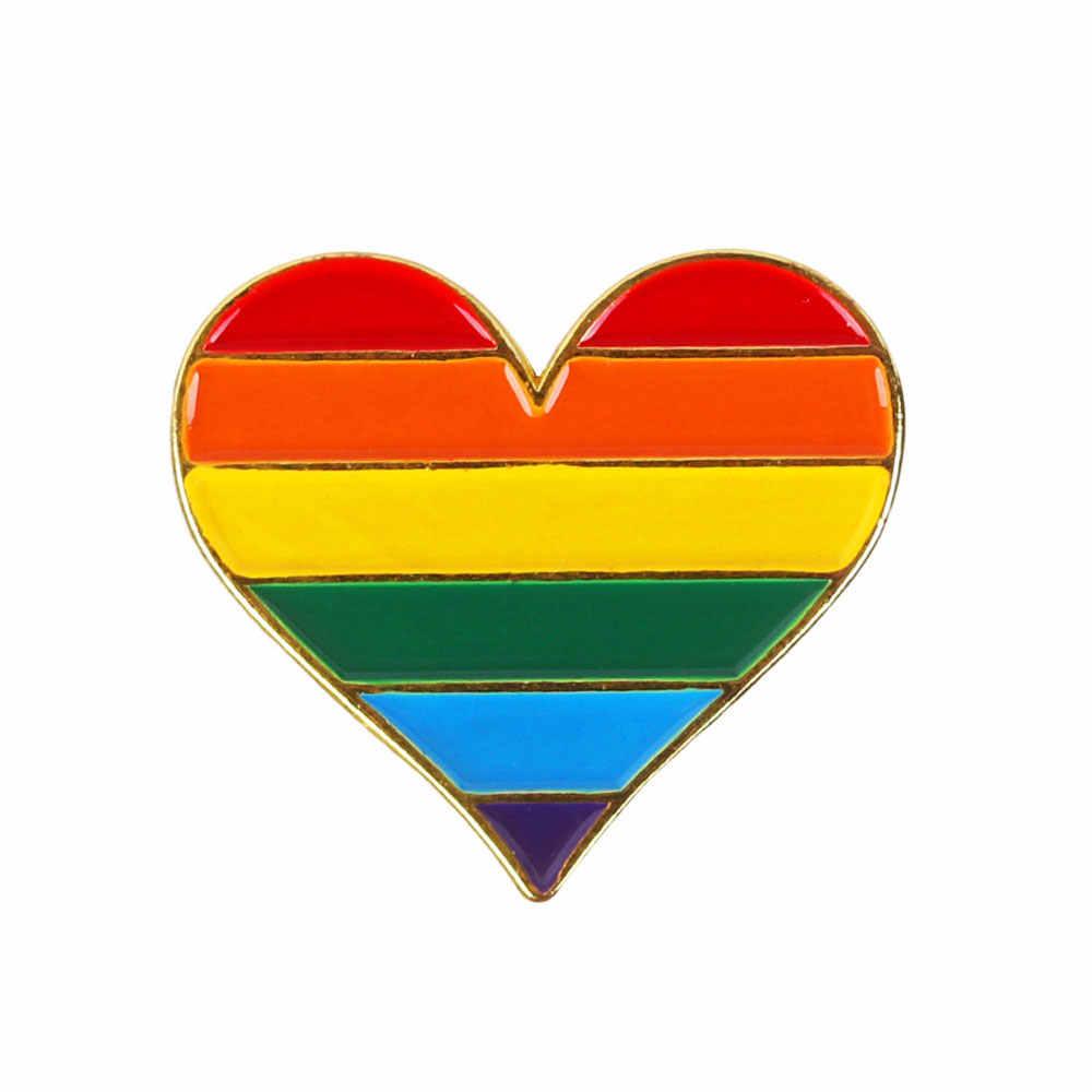 Pakaian Bros Rainbow Jantung Enamel Gay Lencana Kerah Denim Topi Bros Unisex Kerah Pin Perhiasan Aksesoris
