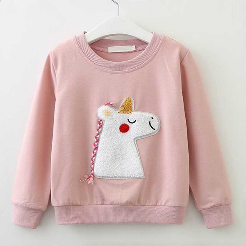 Girls Long Sleeve Sweatshirts Children Spring Autumn Cotton T-shirt Kids Cartoon Pattern Clothes Kids Knit Sweaters Pullover Tee image