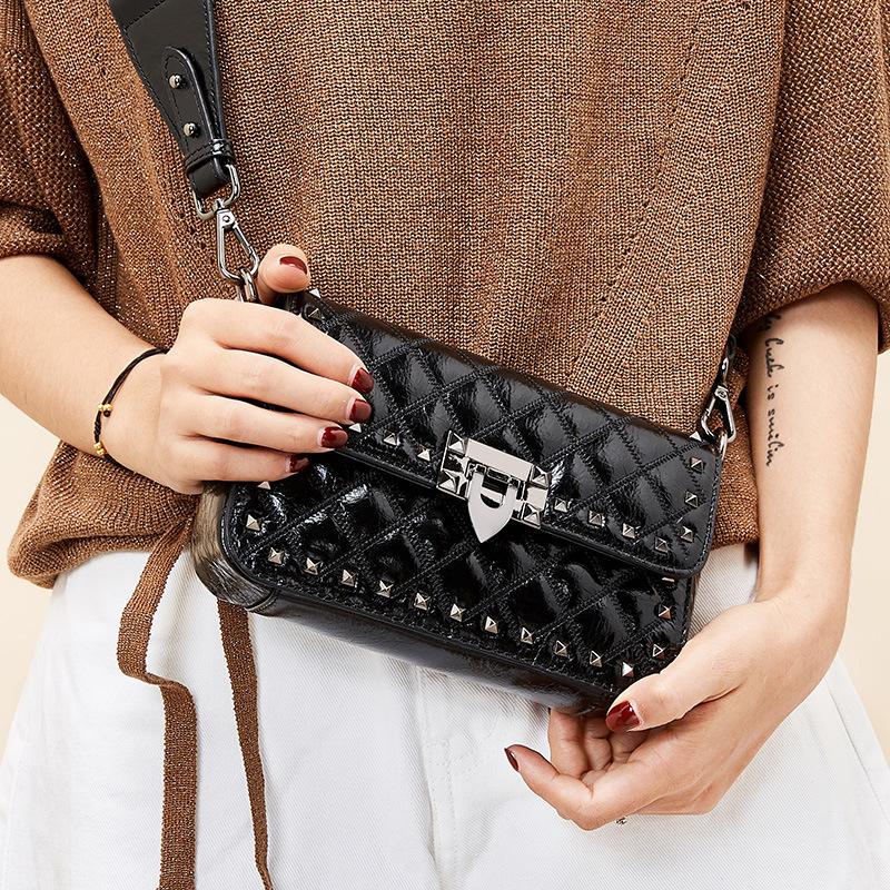 Luxury brand designer handbags high quality rivet genuine cow leather bag shoulder bag crossbody bags for women bolsa feminina
