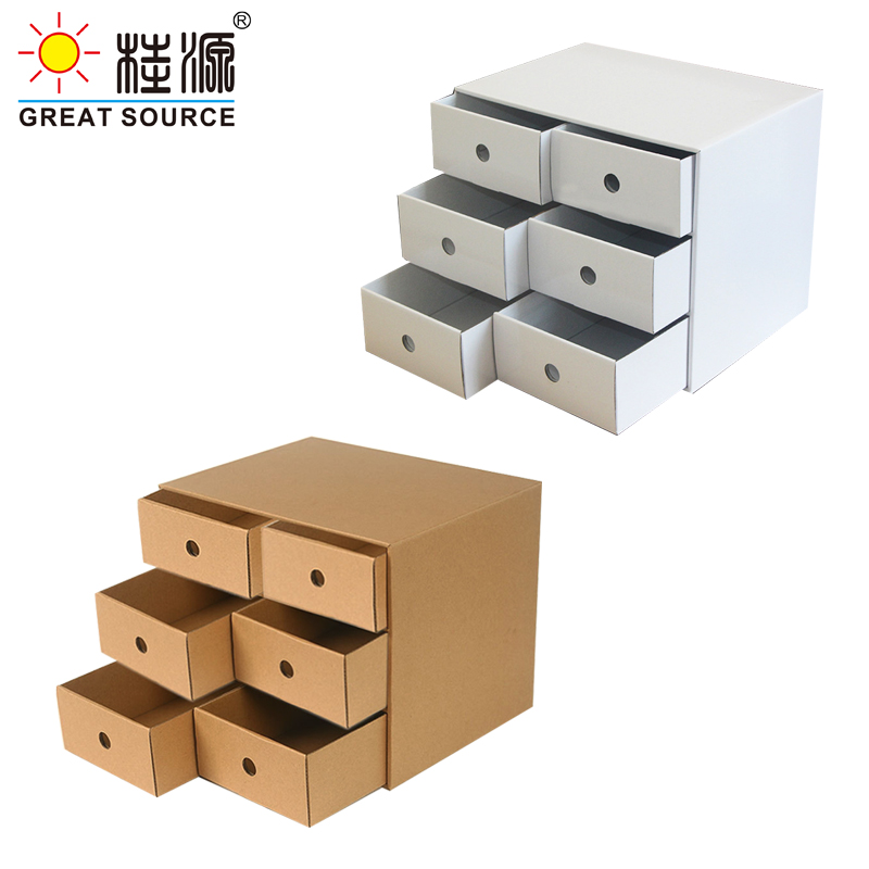 6 Drawers Storage Composable Cabinet Office Corrugate Foldable Home Storage Kraft Paper Environment Friendly