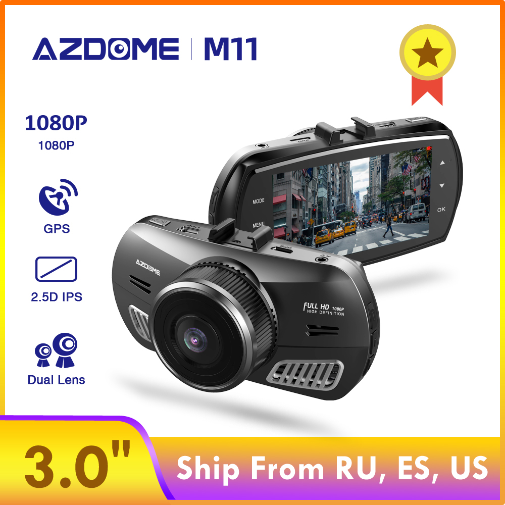 AZDOME M11 3 <font><b>inch</b></font> 2.5D IPS Screen Dash Cam <font><b>Car</b></font> <font><b>DVR</b></font> Recorder HD 1080P Dual Lens <font><b>Car</b></font> Video Dashcam Night Vision Dash <font><b>Camera</b></font> GPS image
