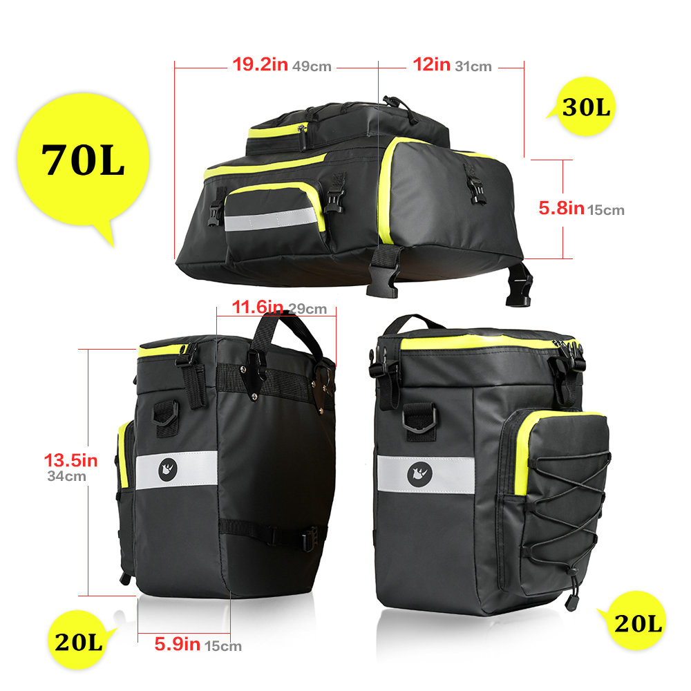 RHINOWALK Mountain Road Bicycle Bike 3 in 1 Trunk Bags Cycling Double Side Rear Rack Tail Seat Pannier Pack Luggage Carrier 70L