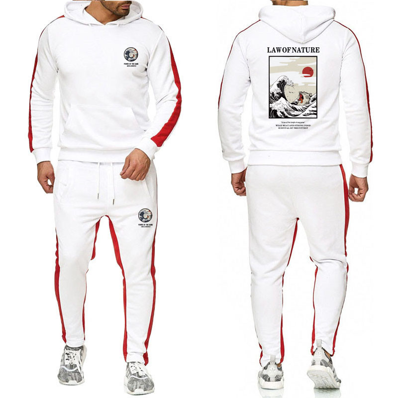 2020 Brand New Hoodie Cotton Suit Print Pattern Gym Workout Training Casual Jogging Suit Suit Supports Various Custom Trademarks