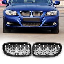 Diamond Kidney Grille Replacement Chromed Black for BMW E90 E91 Facelift Double Slat