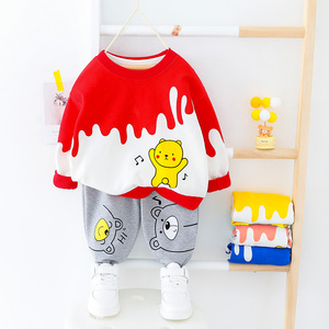 Image 3 - Bebê da criança roupas da menina do menino dos desenhos animados urso camiseta + calça 2 pçs define meninos primavera outono outwear roupas de moda 1 2 3 4 ano