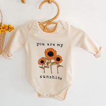 Wiosna jesień niemowlę dziewczynek z motywem słonecznika pajacyki ubranka dla dzieci z długim rękawem pajacyki dziewczynek pajacyki tanie tanio campure COTTON Drukuj baby O-neck Swetry Dziecko dziewczyny Pełna 92351 Pasuje prawda na wymiar weź swój normalny rozmiar