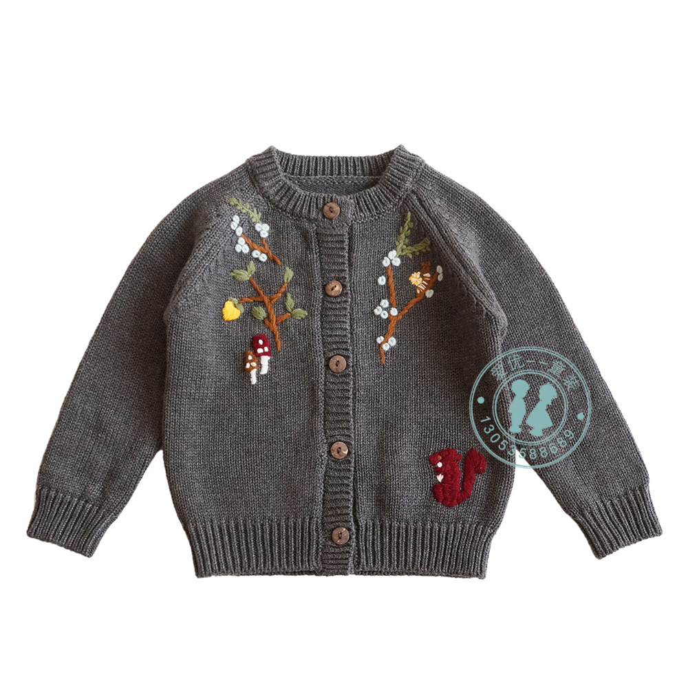Baby Girls Sweaters Fashion Autumn High Quality Embroidered Knit Cardigan for Girl Toddler Kids Jackets Sweaters  New Arrival