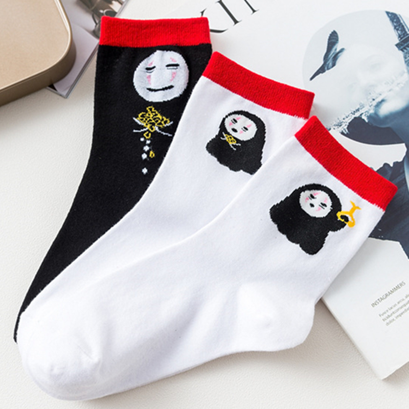 Anime Spirited Away No Face Man Casual Socks Printed Cartoon Ankle Socks Kawaii Harajuku New