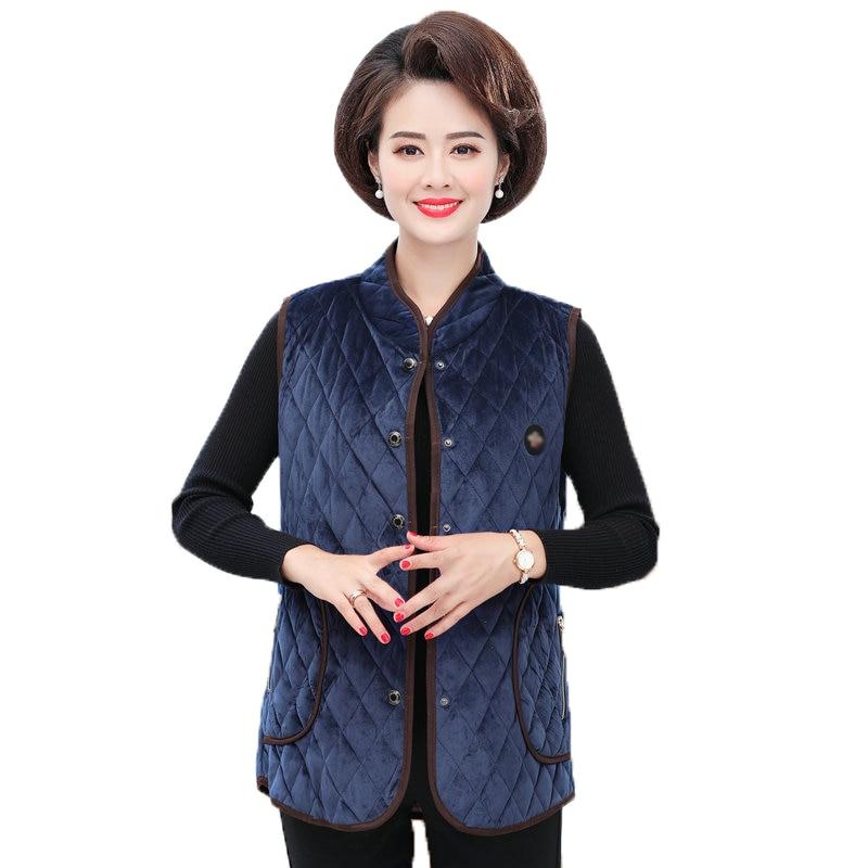 Ethnic Thick Quilted Velour Vests Women Autumn Winter Elegant Mandarin Collar Blue Army Green Navy Padded Velvet  Waistcoat