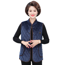 Ethnic Thick Quilted Velour Vests Women Autumn Winter Elegant Mandarin Collar Blue Army Green Navy Padded Velvet  Waistcoat