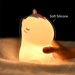 Image 2 - Unicorn LED Night Light Touch Sensor Colorful USB Rechargeable Cartoon Silicone Bedroom Bedside Lamp for Children Kids Baby Gift