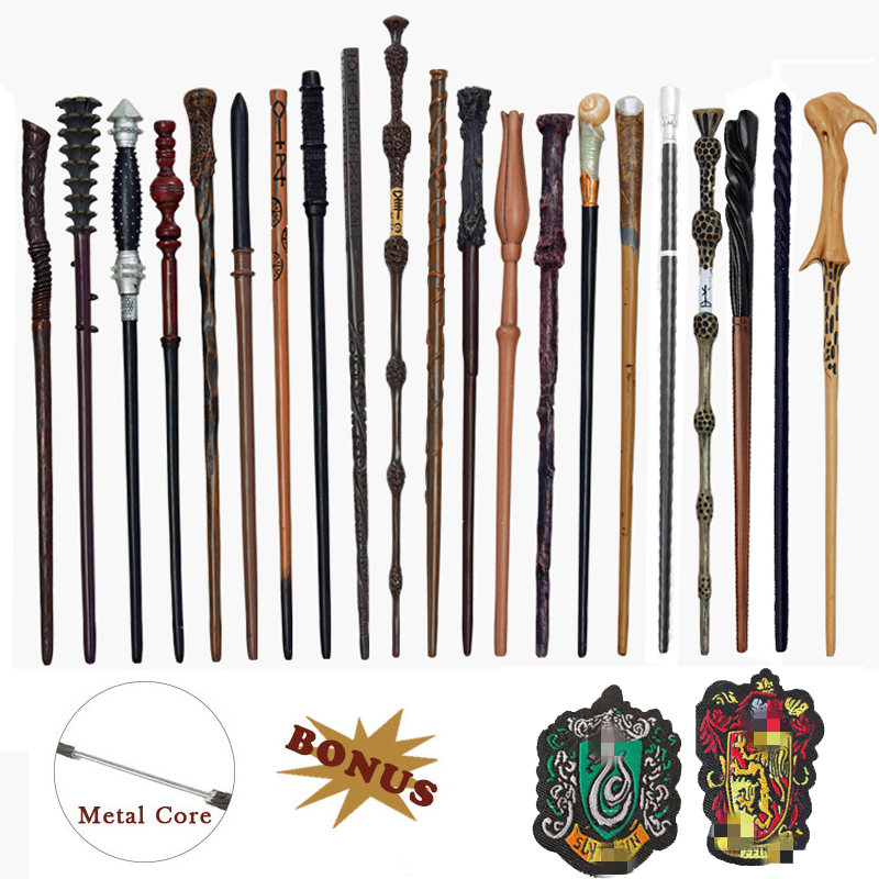 28 Kinds of Metal Core Potters Magic Wands Cosplay Voldmort Ron Hermione Magical Wand Harried Cloth label as Bonus without Box