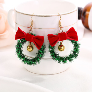 Серьги-капельки с красным бантом, креативные новогодние серьги в форме рождественской ёлки, уникальные украшения со звездой и бантом, 2019