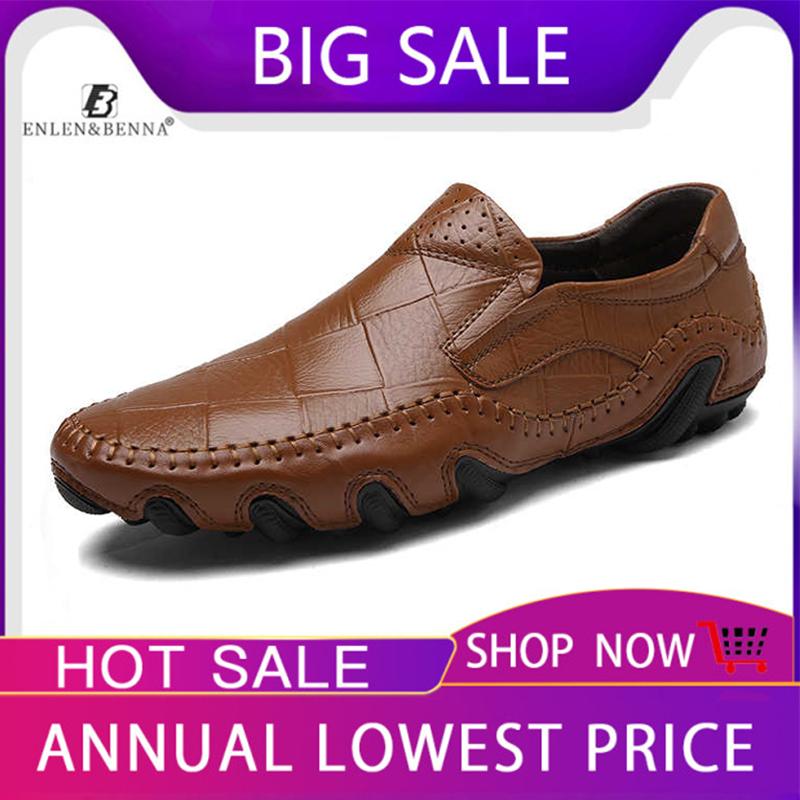 Men Moccasins Shoes Loafers Sneakers Male Slip-On Genuine-Leather Flats Comfortable Sizes