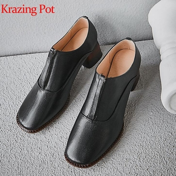 Krazing Pot cow leather front zipper vintage design mixed color high heel round toe elegant lady career Autumn winter pumps L7f3