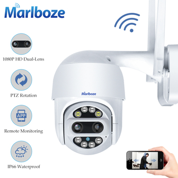 1080P PTZ Dual-Lens Wifi Camera Outdoor Auto Tracking Cloud home Security IP Camera 2MP Zoom Speed Dome CCTV Camera surveillance