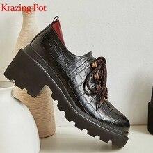 Krazing Pot mode cuir de vache imprime peau épaisse talon haut bout rond automne vintage métal rivets western cowboy femmes pompes L18