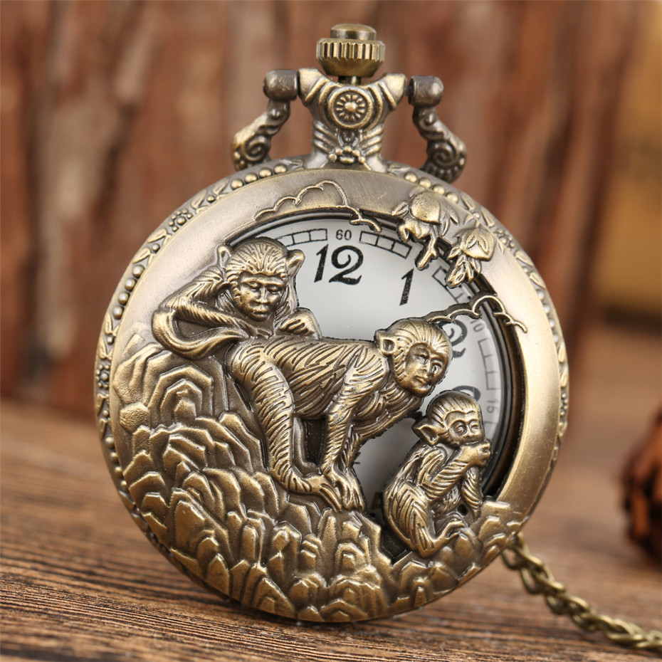 Retro Bronze Chinese Zodiac Monkey Half Hunter Quartz Pocket Watch Pendant Chain Pocket Clock For Men Women