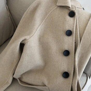 New cashmere coat 2020 autumn and winter temperament windbreaker over knee long woolen female W033