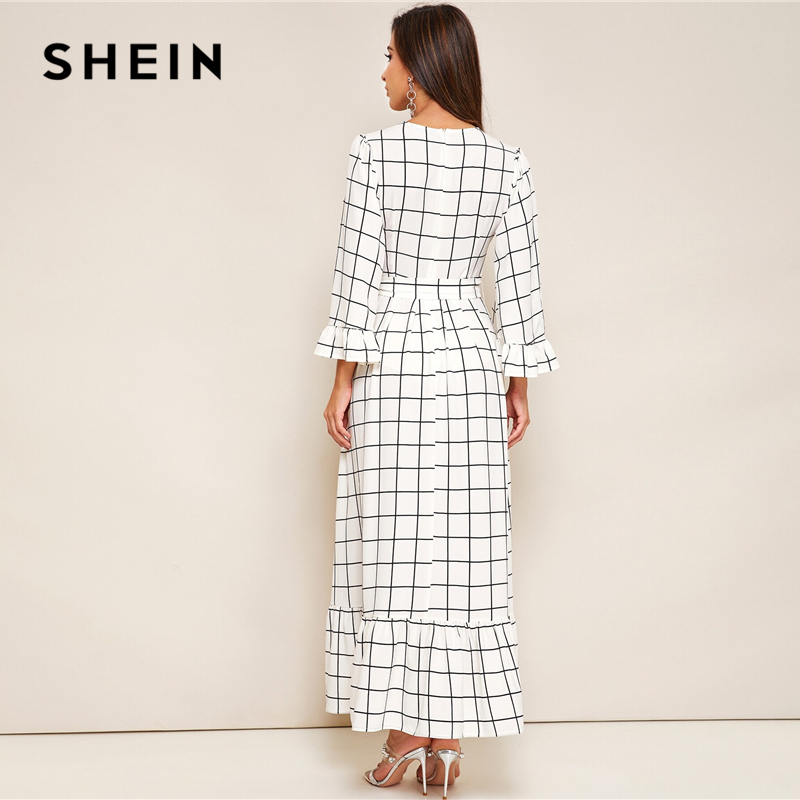 SHEIN Abaya Bell Sleeve Flounce Hem Grid Belted Maxi Dress Women Autumn Zip Back Round Neck Elegant A Line Plaid Modest Dresses 2