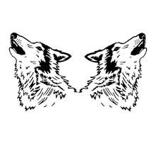 Автомобиля наклейку личность симметричные холодная голова дикого волка украшения автомобиля наклейки подходит для различных моделей черный/белый, 23см*20см
