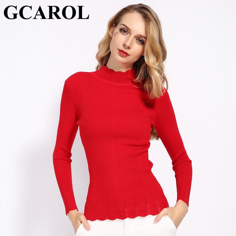 GCAROL 2019 Women Ruffles Stand Collar Sweater Stretch Slim Fall Winter Jumper OL Render Knit Pullover S-XL