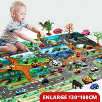 130*100CM Large City Traffic Car Park Play Mat Waterproof Non-woven Kids Car Playmat Toys for Children's Mat Boy Girl Education