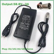 58.8V 3A Sạc Xe Đạp Điện 14S 48V Pin Lithium E Sạc Xe Đạp Cao Cấp Mạnh Mẽ có Quạt Làm Mát Kết Nối XLR
