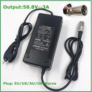 Image 1 - Cargador de bicicleta eléctrica de 58,8 V y 3A, cargador de batería de litio de 14S y 48V, de alta calidad, fuerte con conector XLR de ventilador de refrigeración