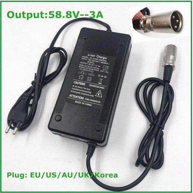 Cargador de bicicleta eléctrica de 58,8 V y 3A, cargador de batería de litio de 14S y 48V, de alta calidad, fuerte con conector XLR de ventilador de refrigeración