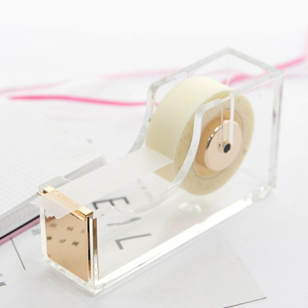 New Deluxe Square Clear Acrylic Tape Seat Tape Holder Rose Gold  Office Tape Dispenser Desktop With Tape Supplies