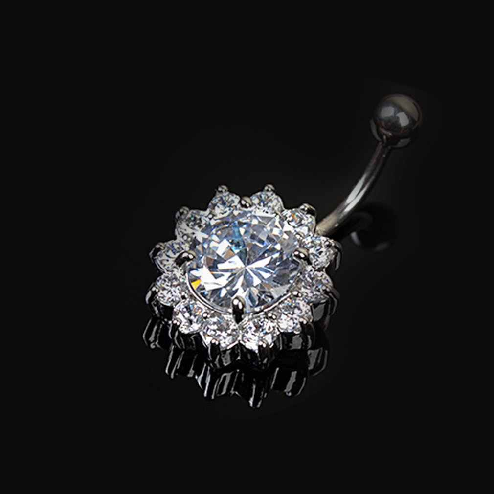 Flower Crystal Gem Navel Buckle Belly Ring Piercing Body Inlaid Nail Button Paragraph Buckle Ring Body for Women 2019 Fashion